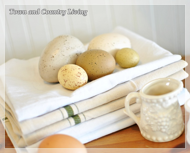 Farm eggs on natural linens