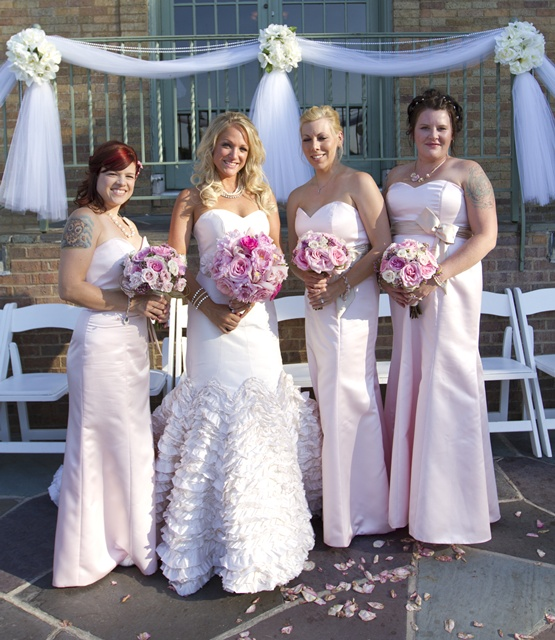 The Bridesmaids wore Pink