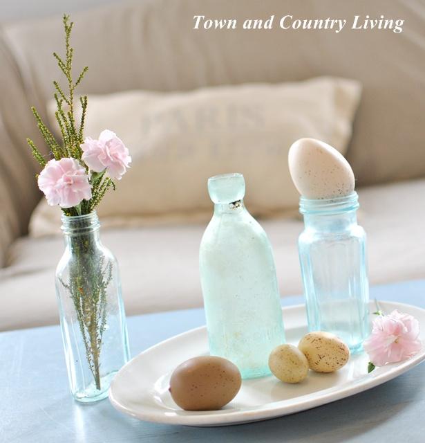 Aqua Bottles and Pink Carnations