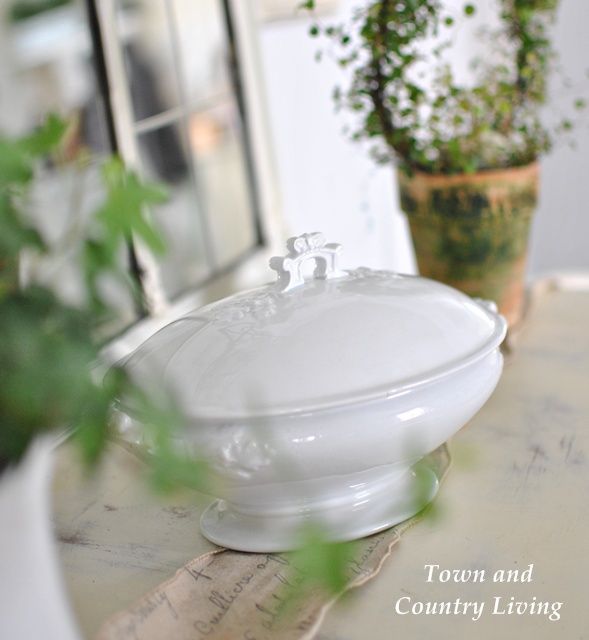 White Ironstone Covered Dish