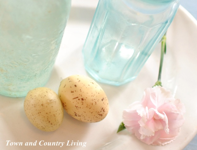 Easter Eggs and Pink Carnations