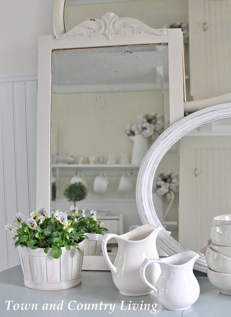 Vintage mirrors and ironstone