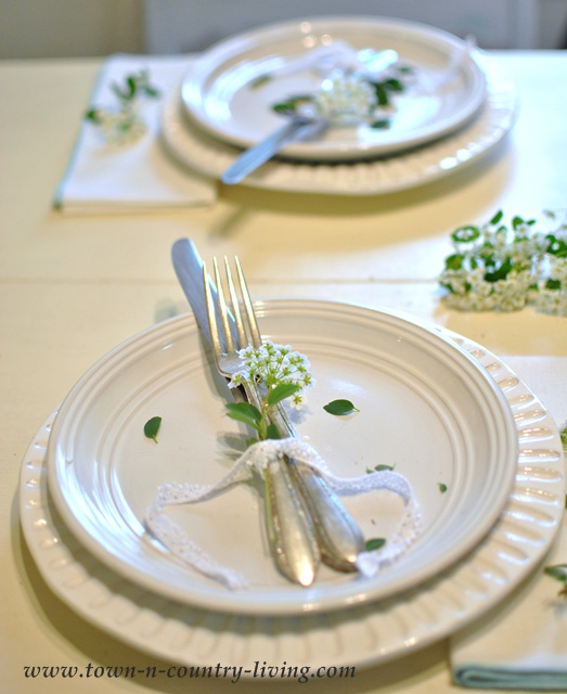 White dishes and old silver - Town and Country Living blog