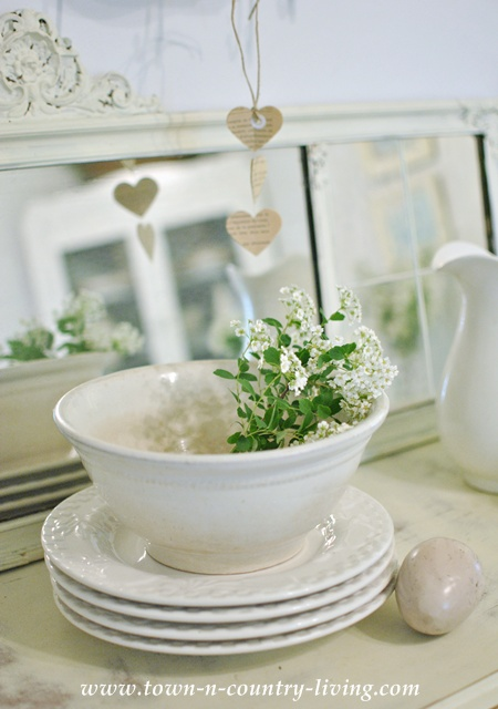 White ironstone bowl with Bridal Wreath branch