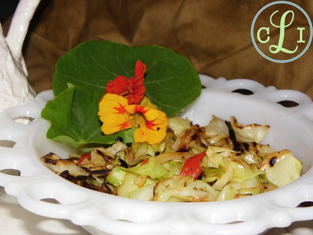 Sauteed-Cabbage-and-roasted-red-peppers http://www.dejavuedesigns.com