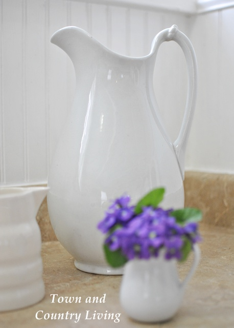 White ironstone pitcher flea market find