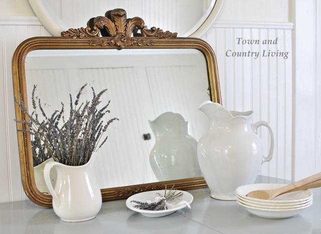 Vintage wooden mirror flea market finds