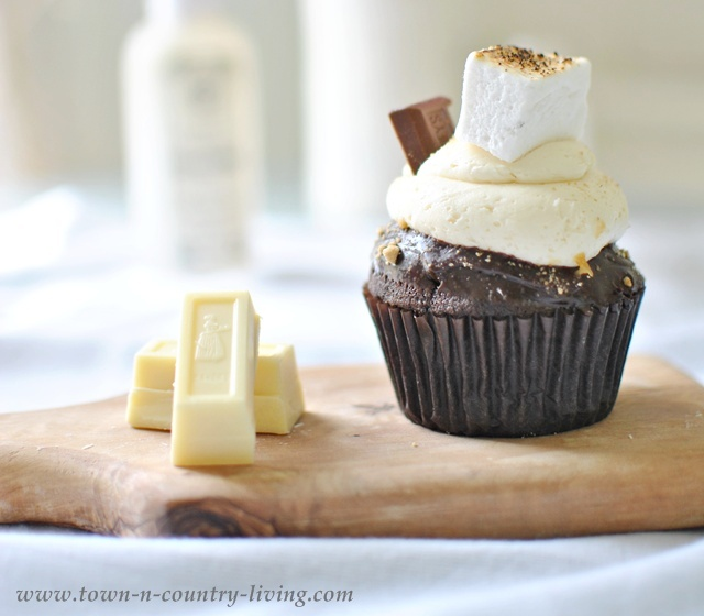 S'Mores Cupcake at a Summer Inspiration Decor Party- Town and Country Living blog