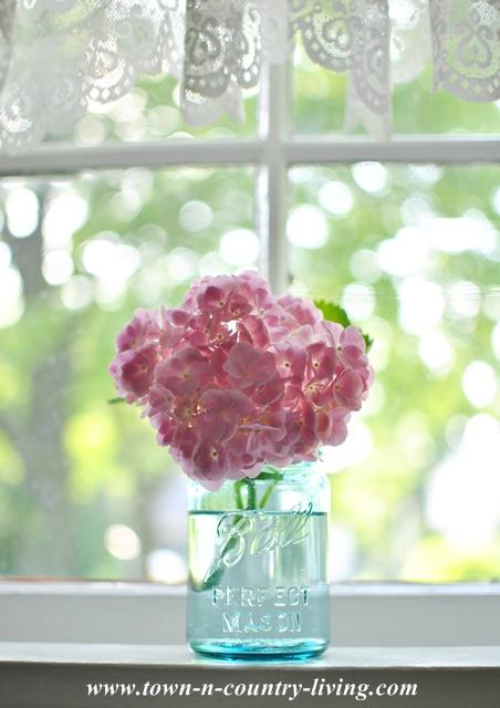 Pink Hydrangea in Blue Ball Mason Jar