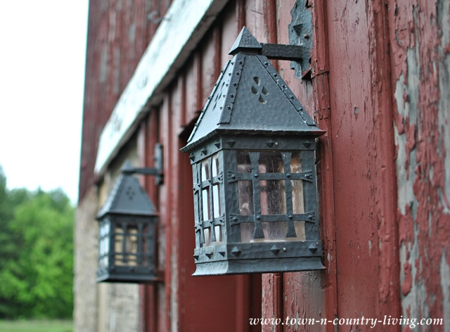 Pair of Lanterns on Rustic Red Barn