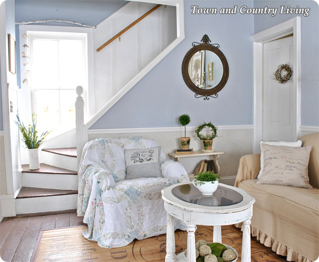 Painted stair case in a country farm house