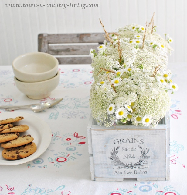 Cottage style flowers in a French crate