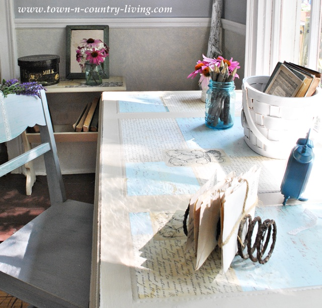 Painted and Decoupaged Desk at Town and Country Living