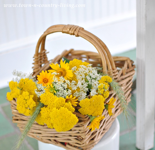 Basket of cottage wildflowers - Town and Country Living