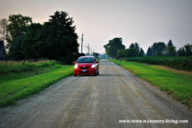 Red Toyota Yaris on a Country Road