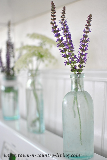 Purple Sage in an aqua-tinted bottle via Town and Country Living