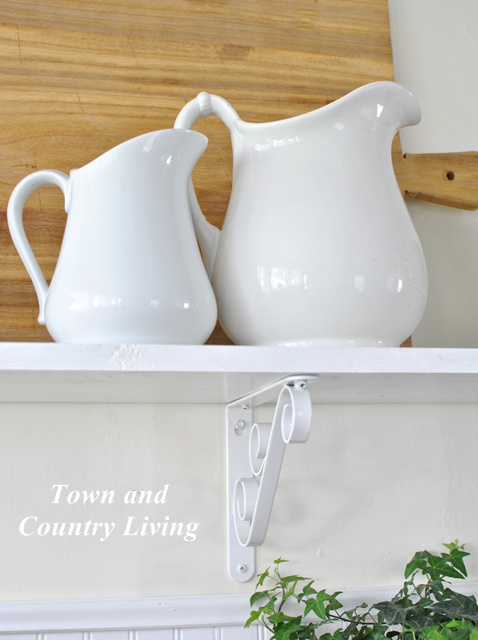 White ironstone in farmhouse kitchen via Town and Country Living