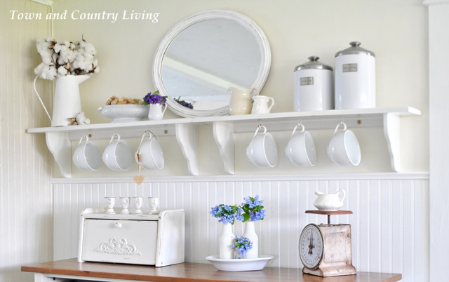 Open Shelving in the Kitchen via Town and Country Living