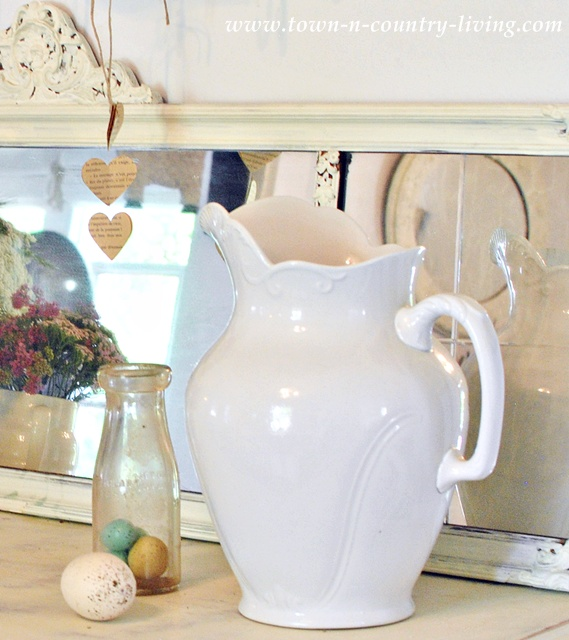 White ironstone pitcher as a decorating detail via Town and Country Living