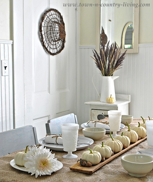 Natural Fall table setting via Town and Country Living