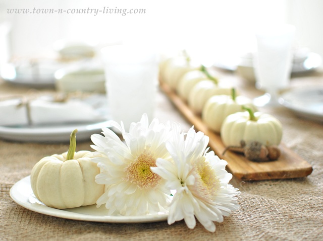 Football mums and Baby Boos for a natural Fall table setting via Town and Country Living