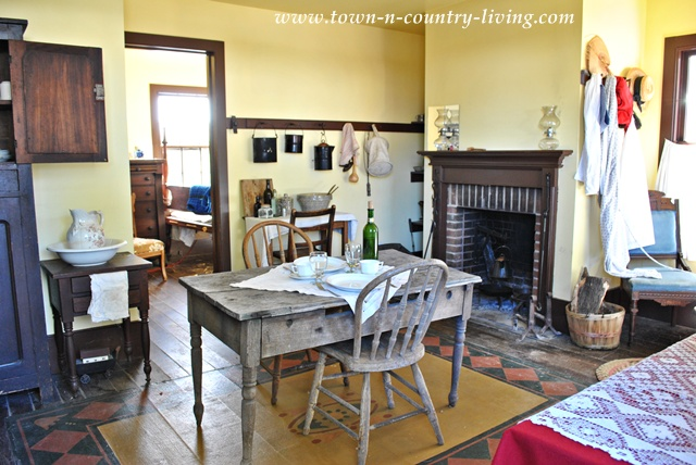 Historic room at Ohio Village via Town and Country Living