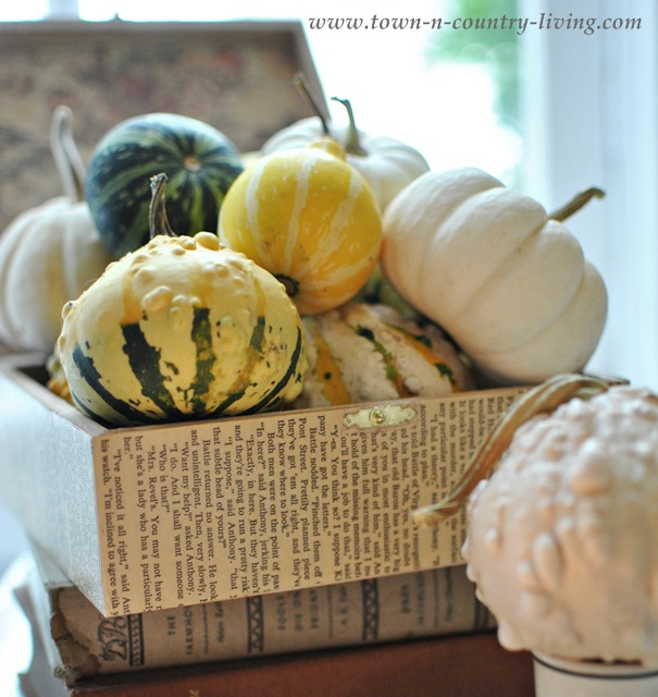 Decorative fall gourds at the Fall Home Tour via Town and Country Living