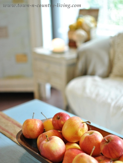 Apples as Fall decor via Town and Country Living