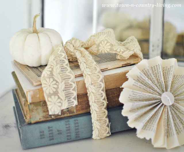 Vintage Book Vignette via Town and Country Living