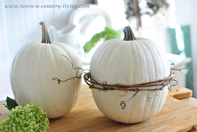 Decorate pumpkins with grapevine wreaths