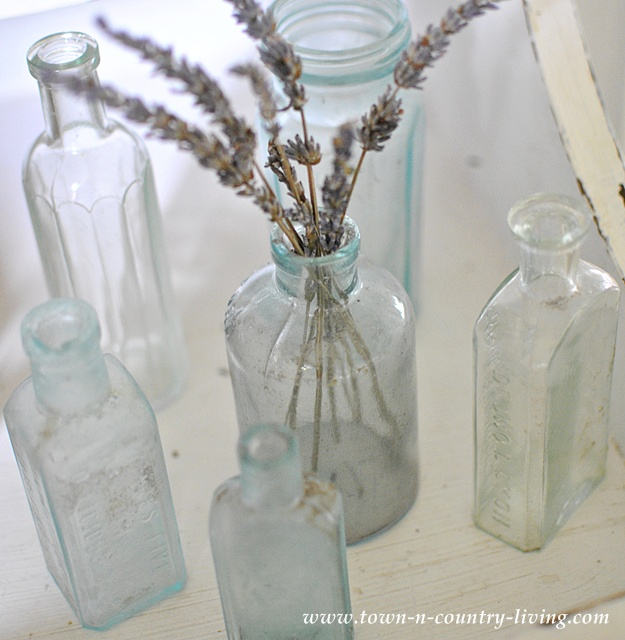 Vintage Aqua Bottles at Town and Country Living's Fall Home Tour