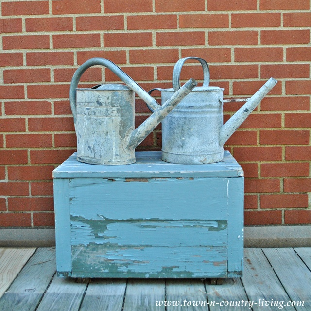 Galvanized watering cans at the Country Living Fair in Ohio