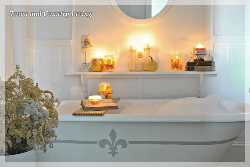 Candlelit bubble bath via Town and Country Living's Fall Home Tour