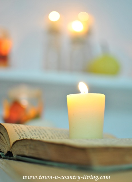 Macrophotography of candle on a book at Town and Country Living