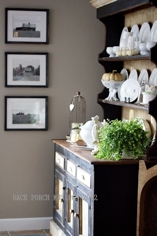 Fall Decor on Dining Hutch at Back Porch Musings