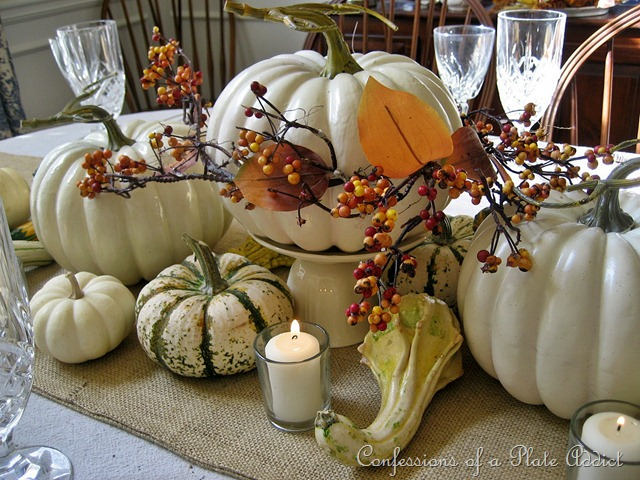 Pumpkin Centerpiece via Confessions of a Plate Addict