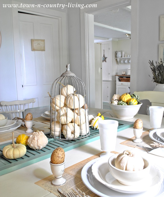 Autumn decorating with Baby Boo pumpkins at Town and Country Living