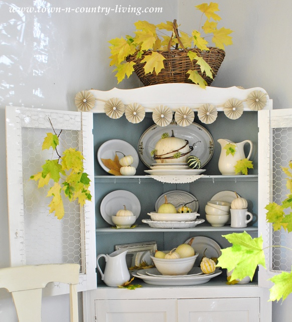 Farmhouse Hutch decorated for Fall at Town and Country Living