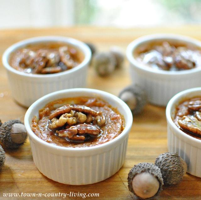 Sweet Potato Spoon Bread with Caramel Pecan Sauce