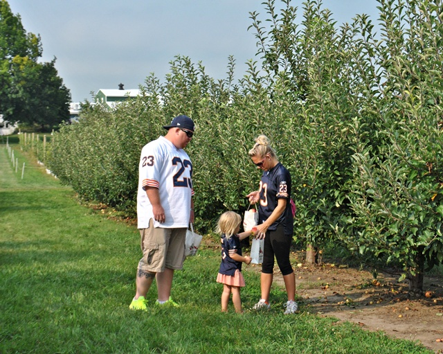 Family outing to the apple orchard in Illinois