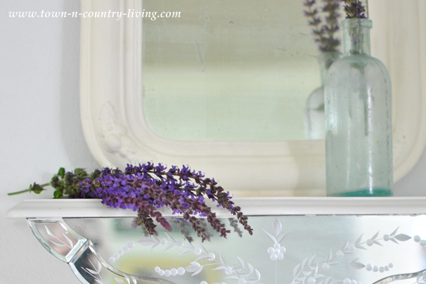 Purple sage in a vintage mirror vignette via Town and Country Living