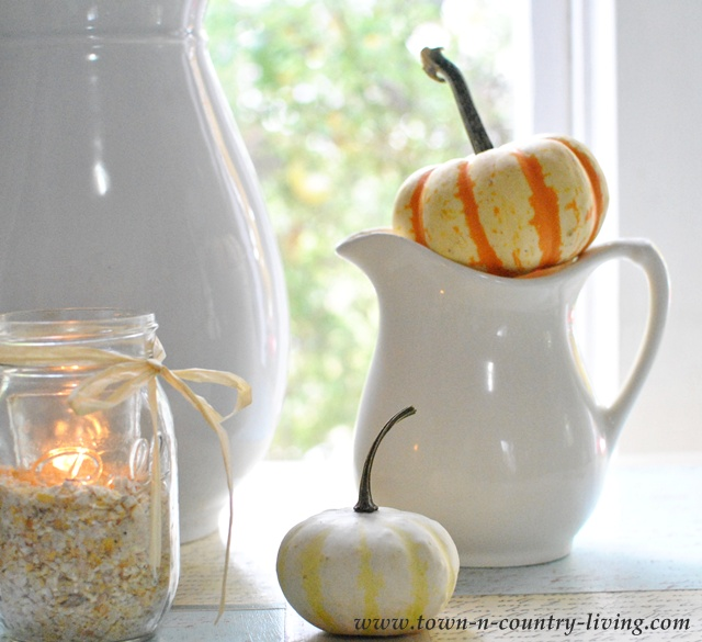 Small white ironstone pitcher via Town and Country Living