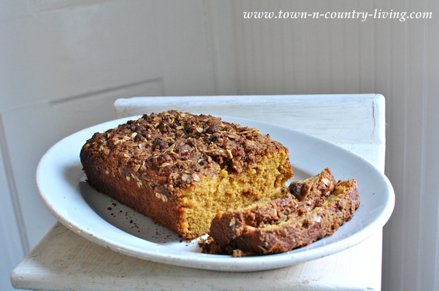 Pumpkin bread with oatmeal and flaxseed via Town and Country Living
