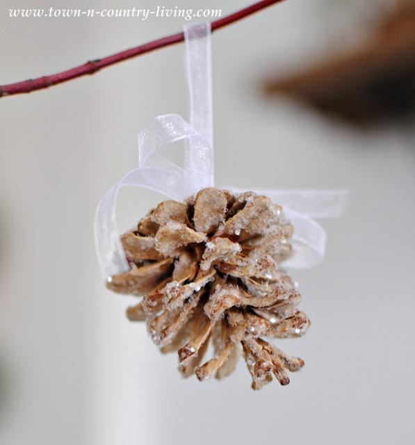 Glitter pine cone ornaments
