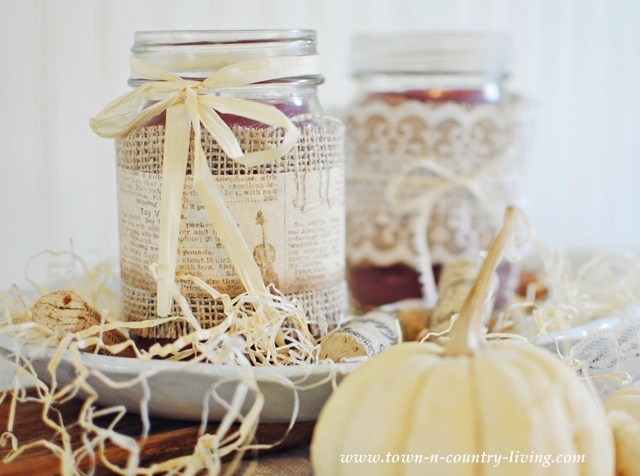 Mason jar candles via Town and Country Living
