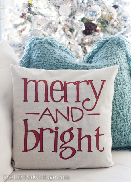 Christmas Pillow at Lily Pad Cottage