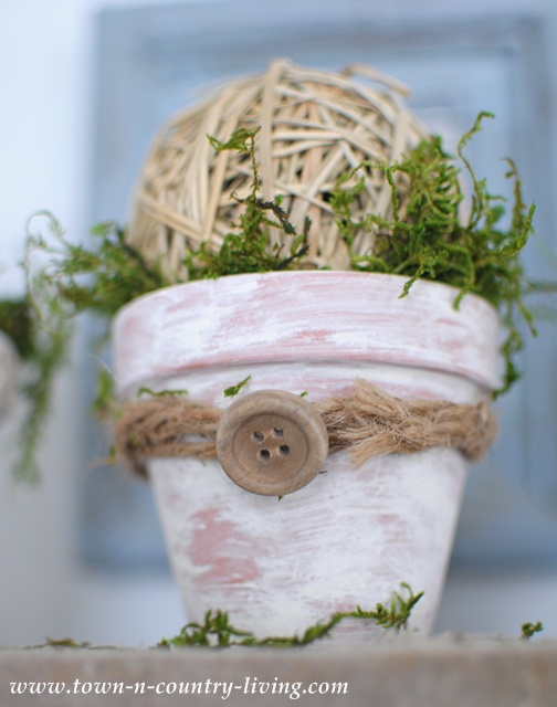DIY Mossy Pots by Town and Country Living