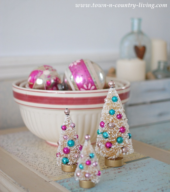 Bottle brush Christmas trees and vintage ornaments