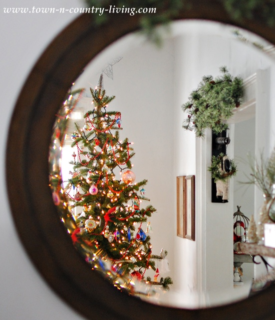 Vintage mirror and Christmas tree
