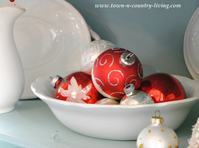 Vintage Christmas Ornaments in White Ironstone